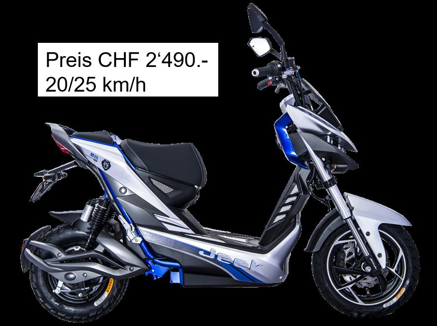 Futuristischer eScooter ind blau, grau, schwarz. Kompakt. E-Jeek von Emofa.